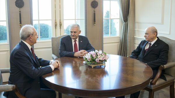 Başbakan Binali Yıldırım, CHP Genel Başkanı Kemal Kılıçdaroğlu ve MHP Genel Başkanı Devlet Bahçeli ile bir araya geldi. - Sputnik Türkiye