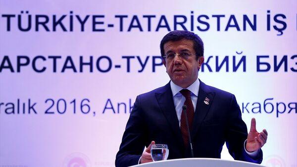 Türkiye-Tataristan İş Forumu, Sheraton Otel'de, Tataristan Cumhurbaşkanı Rustam Minni̇hanov ve Ekonomi Bakanı Nihat Zeybekci'nin katılımıyla gerçekleştirildi. - Sputnik Türkiye
