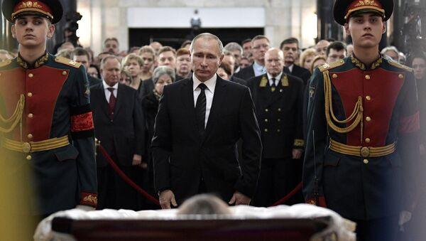 Rusya Devlet Başkanı Vladimir Putin, Ankara'da öldürülen Rus Büyükelçi Andrey Karlov'un cenaze töreninde - Sputnik Türkiye
