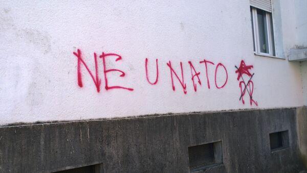 Karadağ'daki NATO karşıtı grafitiler - Sputnik Türkiye