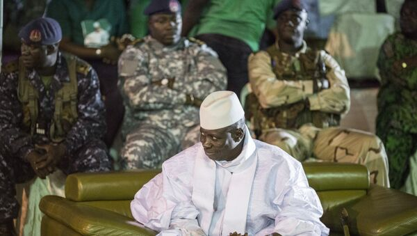 Incumbent Gambian President Yahya Jammeh looks on in Banjul on November 29, 2016, during the closing rally of the electoral campaign of the Alliance for Patriotic Reorientation and Construction (APRC) - Sputnik Türkiye