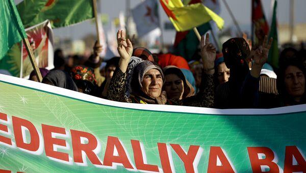 Astana'ya PYD'nin davet edilmemesini protesto eden Kürtler - Sputnik Türkiye