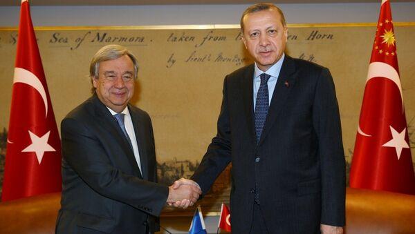 Cumhurbaşkanı Recep Tayyip Erdoğan- Birleşmiş Milletler (BM) Genel Sekreteri Antonio Guterres - Sputnik Türkiye
