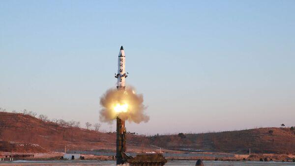 Pukguksong-2 balistik füzesi 12 Şubat sabah saat 7:55 Kuzey Kore'nin batı kıyısından fırlatıldı. - Sputnik Türkiye