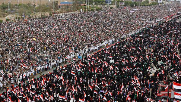Yemen'in başkenti Sana'da, Suudi Arabistan öncülüğündeki askeri müdahale karşıtı gösteri - Sputnik Türkiye