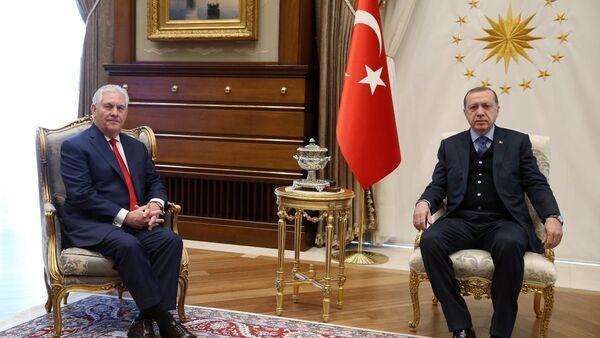Cumhurbaşkanı Recep Tayyip Erdoğan- ABD Dışişleri Bakanı Rex Tillerson - Sputnik Türkiye