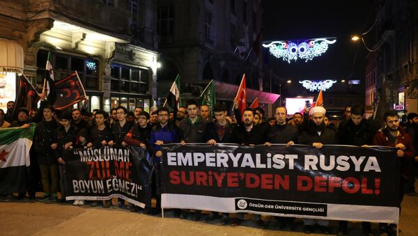 Rusya'nın İstanbul Konsolosluğu önünde protesto gösterisi - Sputnik Türkiye