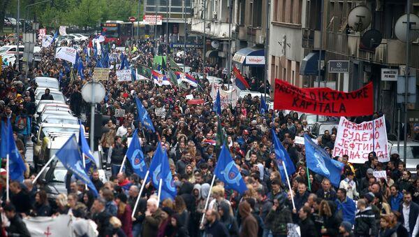 Sırbistan'da Aleksandr Vuçiç karşıtı protesto - Sputnik Türkiye