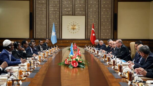 Cumhurbaşkanı Recep Tayyip Erdoğan ve Somali Cumhurbaşkanı Muhammed Abdullah Fermacu - Sputnik Türkiye