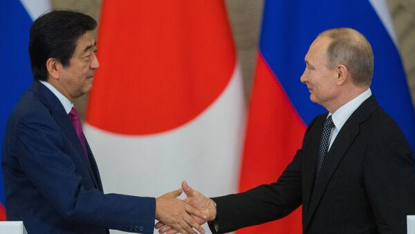 Ruysa Devlet Başkanı Vladimir Putin, Japonya Başbakanı Şinzo Abe ile görüştü - Sputnik Türkiye