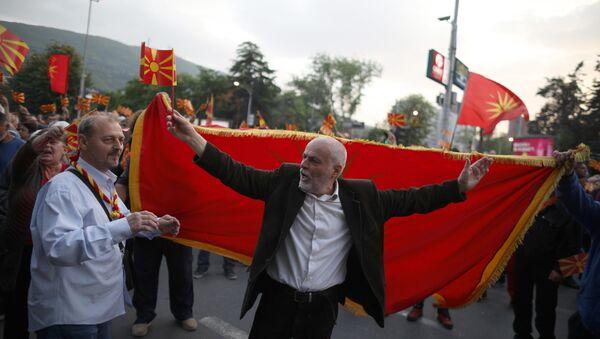 Makedonya'da meclis başkanı seçimini protesto eden göstericiler - Sputnik Türkiye