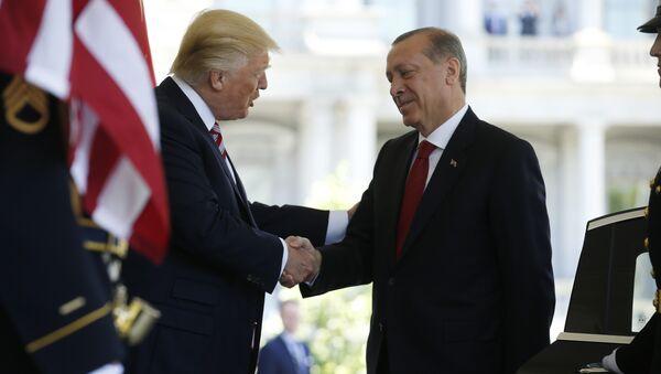 Beyaz Saray'da Cumhurbaşkanı Recep Tayyip Erdoğan'ı, ABD Başkanı Donald Trump karşıladı - Sputnik Türkiye
