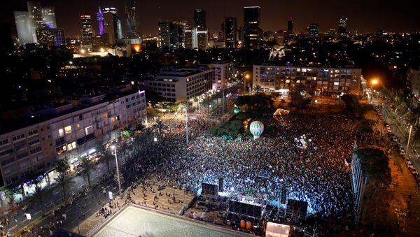 Tel Aviv'de İsrail-Filistin barışı gösterisi - Sputnik Türkiye