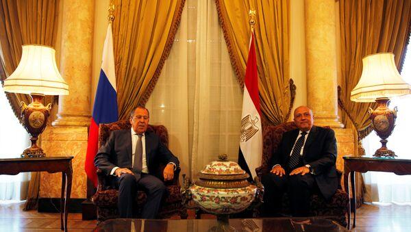 Rusya Dışişleri Bakanı Sergey Lavrov ile Mısırlı mevkidaşı Semih Şükri - Sputnik Türkiye