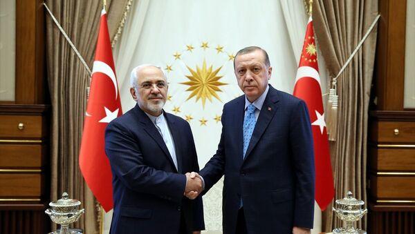 İran Dışişleri Bakanı Muhammed Cevad Zarif ve Cumhurbaşkanı Recep Tayyip Erdoğan - Sputnik Türkiye