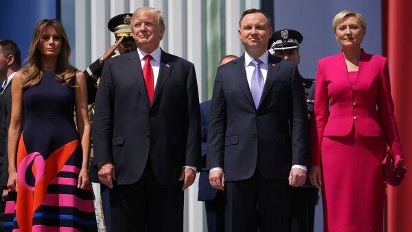 Donald Trump-Melania Trump- Andrzej Duda- Agata Kornhauser-Duda - Sputnik Türkiye
