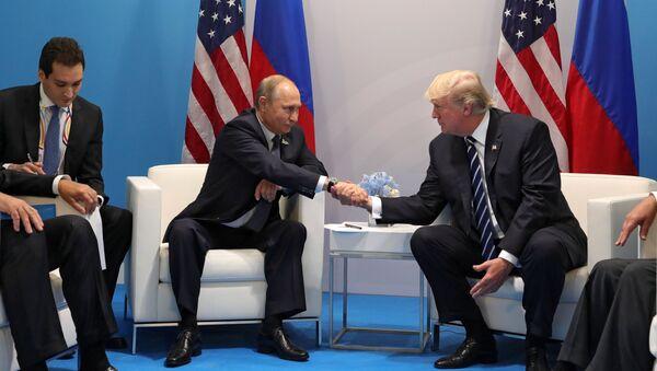 Russian President Vladimir Putin and President of the USA Donald Trump, right, talk during their meeting on the sidelines of the G20 summit in Hamburg - Sputnik Türkiye