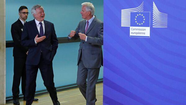 AB Komisyonunun Brexit Başmüzakerecisi Michel Barnier ve İngiltere Brexit Bakanı David Davis - Sputnik Türkiye