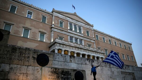 Yunanistan parlamentosu / Yunan bayrağı - Sputnik Türkiye