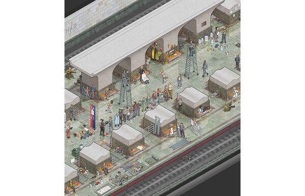 Rus illüstratör Max Degtyarev, yaptığı ilüstrasyonlarla olası bir zombi istilasında Moskova Metrosu'nun harika bir sığınak olabileceğini gözler önüne serdi. - Sputnik Türkiye