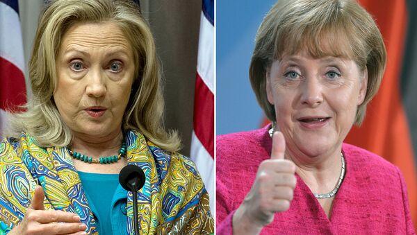Hillary Clinton ve Angela Merkel - Sputnik Türkiye