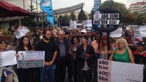 Türk Mühendis ve Mimar Odaları Birliği, Atatürk Orman Çiftliği arazisinden bir bölümün ABD Büyükelçiliği yapılmasını protesto etmek üzere Kızılay'da toplandı. - Sputnik Türkiye