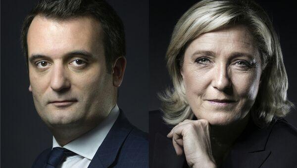 Fransa'da aşırı sağ parti Ulusal Cephe'nin (FN) Başkan Yardımcısı Florian Philippot- Genel Başkan Marine Le Pen - Sputnik Türkiye
