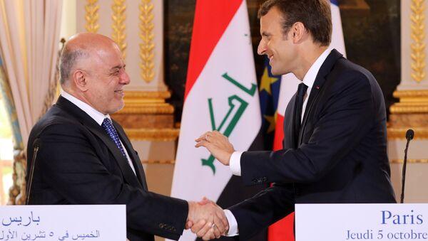 Irak Başbakanı Haydar el İbadi, Fransa Cumhurbaşkanı Emmanuel Macron - Sputnik Türkiye