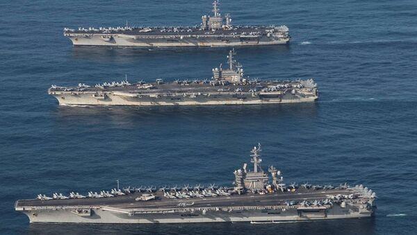 ABD'ye ait 3 uçak gemisinin Kore Yarımadası'nın sularına girişi - Sputnik Türkiye
