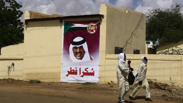 Sudan'da Katar'a teşekkür ifadeleri içeren bir afişin önünden geçen öğrenciler - Sputnik Türkiye
