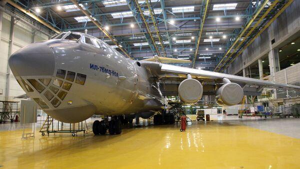 Transport aircraft Il-76MD-90A in a workshop of JSC Aviastar-SP in Ulyanovsk - Sputnik Türkiye