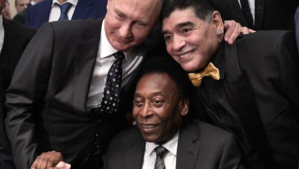 Putin, kura çekiminden önce Pele ve Diego Maradona ile bir araya geldi - Sputnik Türkiye