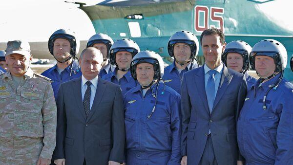 Putin Esad Suriye Hmeymim üssü - Sputnik Türkiye