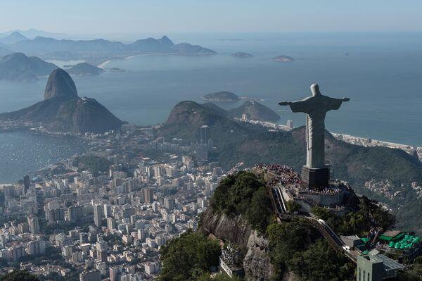 Aerial view of Christ the Redeemer statue, in , Brazil, taken on June 26, 2014 - Sputnik Türkiye