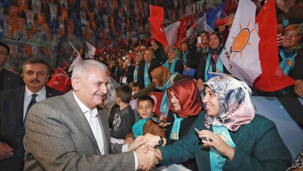 AK Parti Genel Başkanvekili ve Başbakan Binali Yıldırım partisinin Aksaray 6. Olağan İl Kongresi'nde konuştu. - Sputnik Türkiye