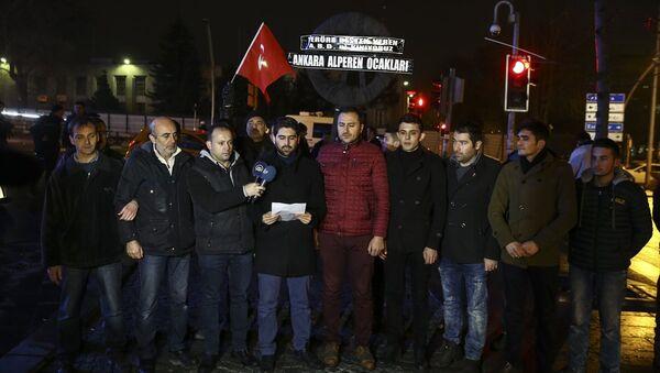 Alperen Ocakları, ABD Büyükelçiliği'ne siyah çelenk bıraktı - Sputnik Türkiye