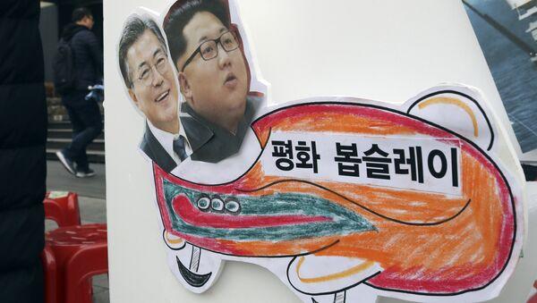 Barış Kızağı: Barışçı bir Olimpiyat yapılması talebiyle Seul'deki bir eylemdekullanılan ve üzerinde Kuzey ve Güney Kore liderlerinin bulunduğu döviz - Sputnik Türkiye