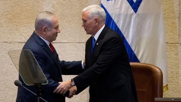 Pence Netanyahu İsrail meclisi Knesset - Sputnik Türkiye