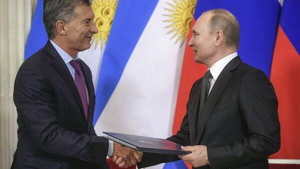 Rusya Devlet Başkanı Vladimir Putin ve Arjantin Devlet Başkanı Mauricio Macri - Sputnik Türkiye