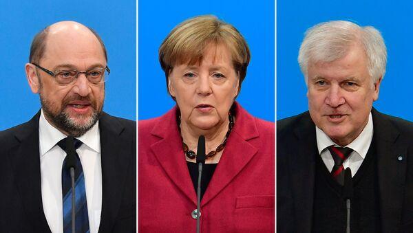 Martin Schulz, Angela Merkel, Horst Seehofer - Sputnik Türkiye