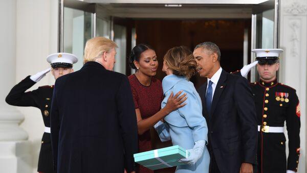 Barack Obama Michelle Obama Donald Trump Melania Trump Beyaz Saray Washington, DC  20 Ocak 2017  - Sputnik Türkiye
