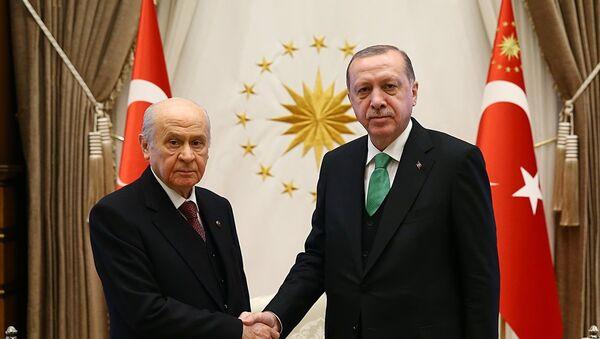 Cumhurbaşkanı Recep Tayyip Erdoğan, MHP Genel Başkanı Devlet Bahçeli'yi kabul etti. - Sputnik Türkiye