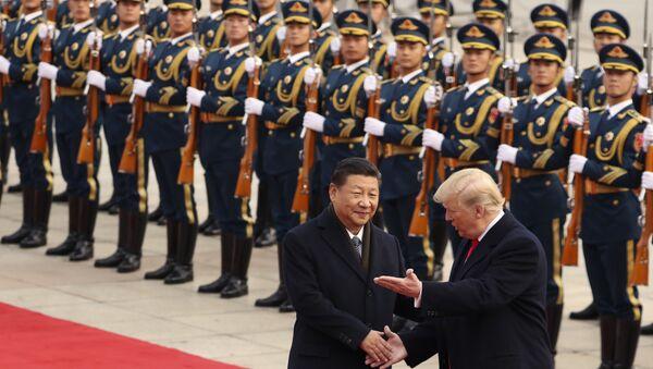 Trump ile Şi'nin Pekin'de Ulusal Halk Kongresi binası Büyük Halk Salonu'nu ziyareti - Sputnik Türkiye