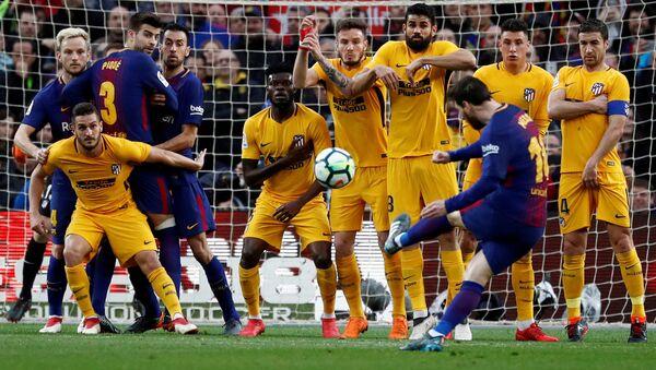 La Liga Santander, FC Barcelona vs Atletico Madrid, Camp Nou, Barselona, 4 Mart 2018, Lionel Messi frikik golü - Sputnik Türkiye