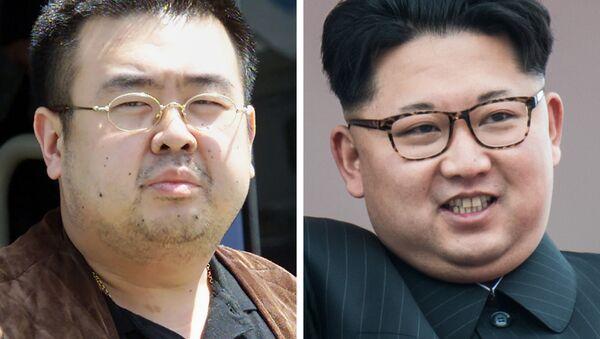 Kuzey Kore lideri Kim Jong-un ile üvey ağabeyi Kim Jong-nam - Sputnik Türkiye