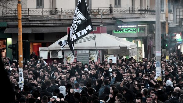 PAOK taraftarları Selanik protesto gösterisi - Sputnik Türkiye