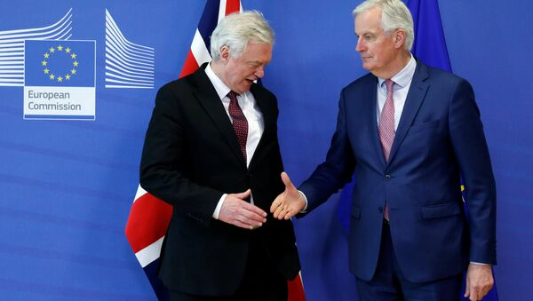 AB Komisyonu'nun Brexit Başmüzakerecisi Michel Barnier ve İngiltere Brexit Bakanı David Davis - Sputnik Türkiye