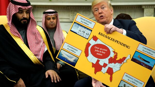 ABD Başkanı Donald Trump Suudi Arabistan Veliaht Prens Muhammed bin Selman Beyaz Saray Oval Ofis 20 Mart 2018 - Sputnik Türkiye