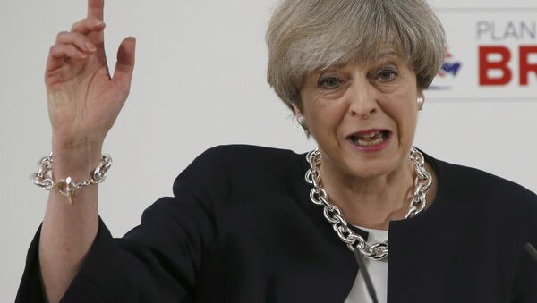 Britain's Prime Minister, Theresa May, delivers a speech to launch the Conservative Party's local elections campaign, in Calverton Village Hall, Calverton, Britain April 6, 2017. - Sputnik Türkiye