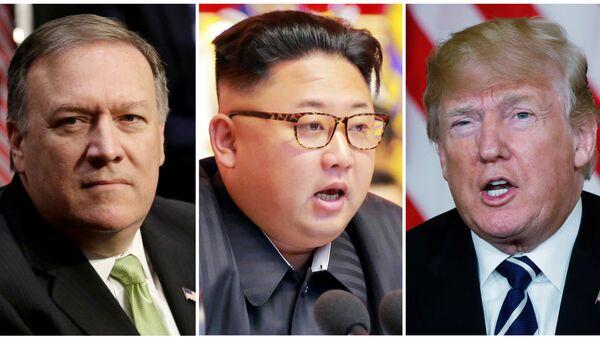 CIA Direktörü Mike Pompeo- Kuzey Kore lideri Kim Jong-un- ABD Başkanı Donald Trump - Sputnik Türkiye
